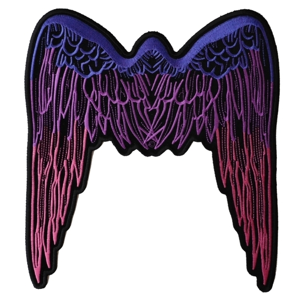 PL2648 Pink Angel Wings Large Embroidered Iron on Patch | Patches