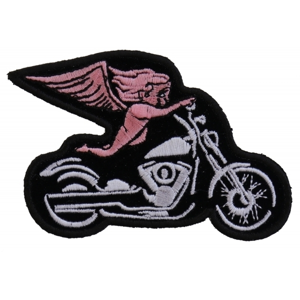 P3789 Pink Biker Angel On Motorcycle Patch | Patches