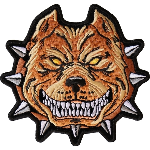 P6563 Pit Bull Spike Collar Iron on Patch   Patches