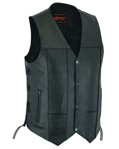 Men's Utility Leather Motorcycle Vest With Side Lace Detail