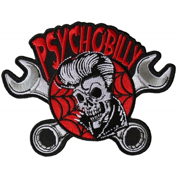 P6369 Psychobilly Skull and Wrenches Patch | Patches