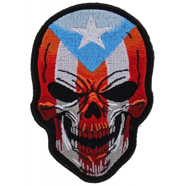 P5137 Puerto Rican Skull Patch With Puerto Rico Flag | Patches