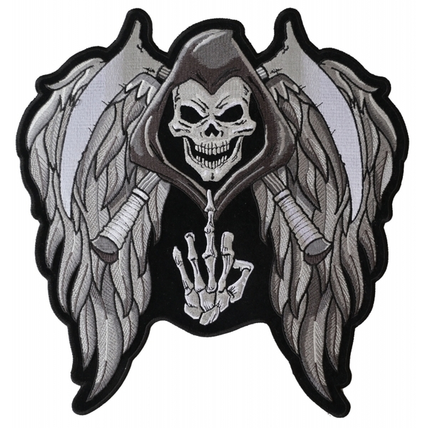 PL5144 Reaper Wings Scythe Middle Finger Embroidered Iron on Patch | Patches