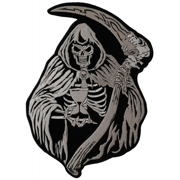 PL3587 Reaper with Scythe Embroidered Iron on Patch | Patches