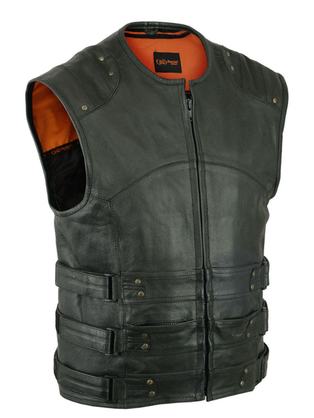 Wholesale Men's Leather Vests | DS008 Men's Updated Club Vest | Daniel Smart Manufacturing