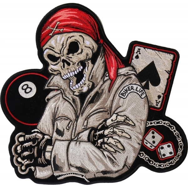 PL4247 Red Bandana Skull 8 Ball Ace of Spades Embroidered Iron on Biker Patch | Patches