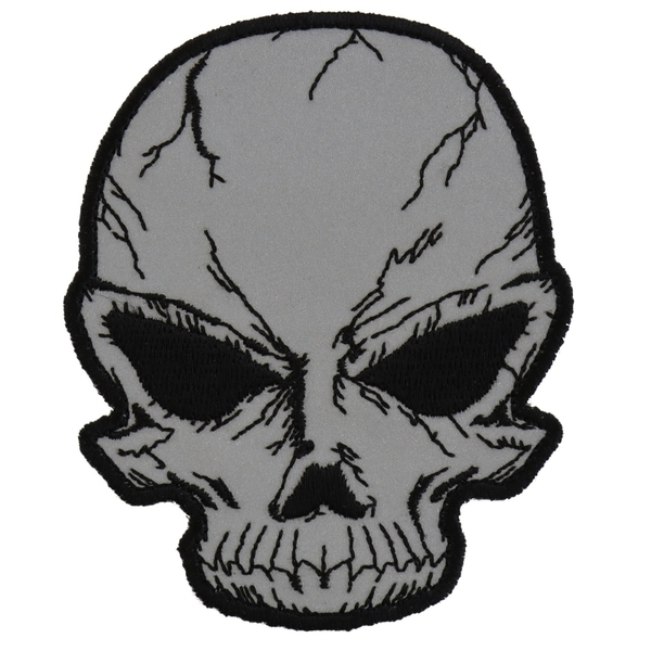 P3169 Reflective Small Cracked Skull Patch | Patches