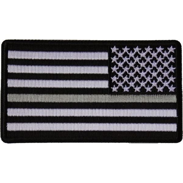 P6678 Reversed Silver Line Corrections Officer American Flag Patch | Patches