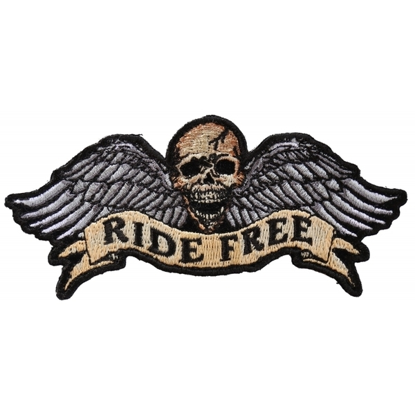 P3295 Ride Free Winged Skull Biker Patch | Patches