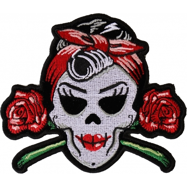 P6543 Rockabilly Lady Skull Patch | Patches