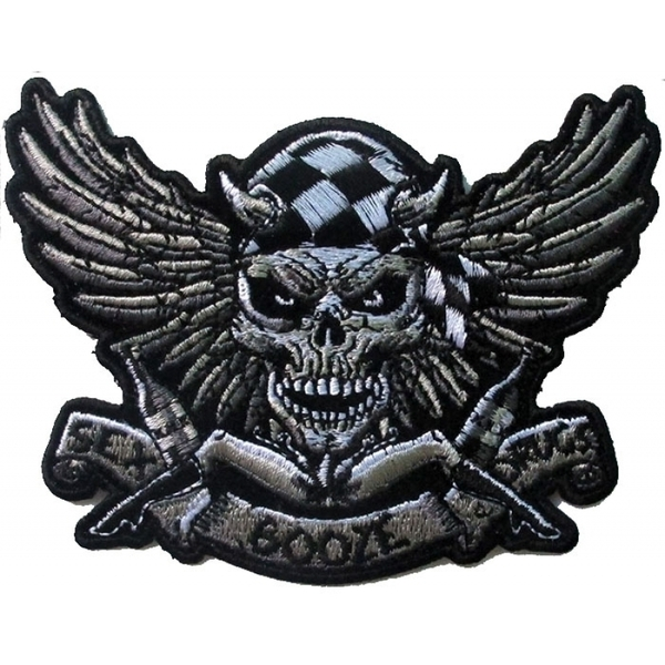 P6706 Sex Booze Drugs Checkered Skull and Wings Patch | Patches