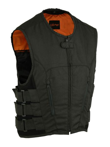 Wholesale Men's Leather Vests | DS112BK Men's Updated Textile Club Vest | Daniel Smart Manufacturing