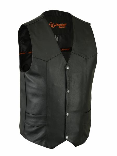 Men's Traditional Concealed Carry Black Leather Vest