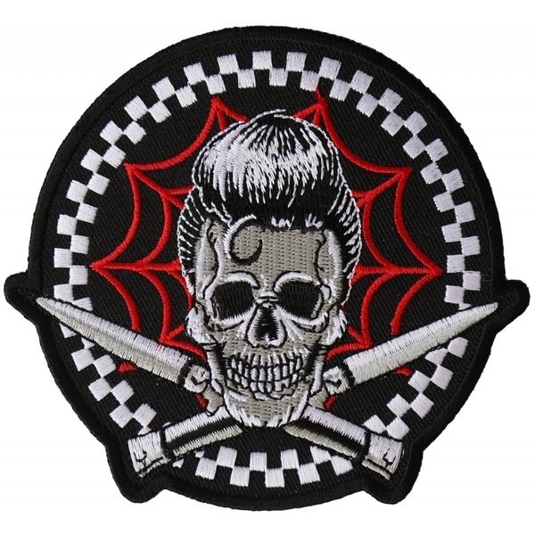 P6395 Switchblades Billy Skull Spider Web Patch | Patches