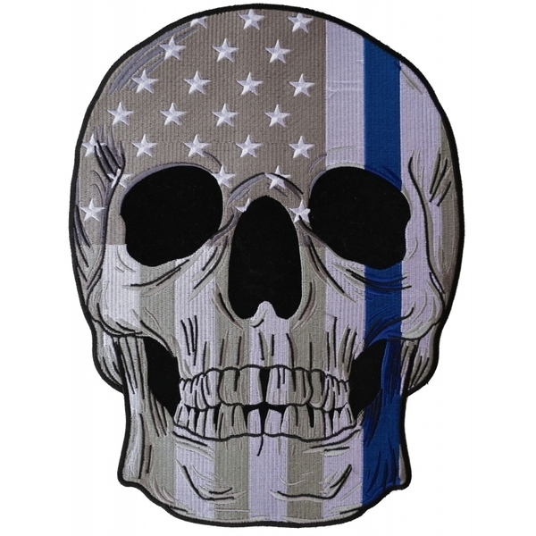 PL5995 Thin Blue Line Police Flag Skull Embroidered Iron on Patch   Patches