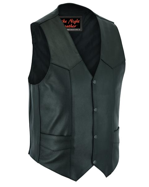 Wholesale Men's Leather Vests | DS104 Men's Plain Side Economy Vest | Daniel Smart Manufacturing