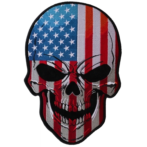 PL5667 USA Skull Embroidered Iron on Patch | Patches