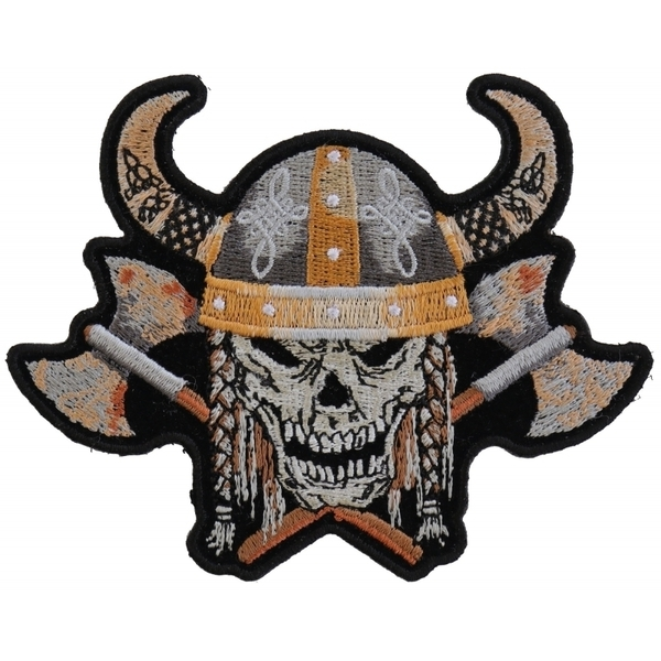 P4955 Viking Skull With Axes and Horn Helmet Small Patch | Patches