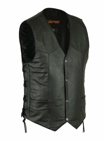 Wholesale Men's Leather Vests | DS106 Men's Side Lace Economy Vest | Daniel Smart Manufacturing
