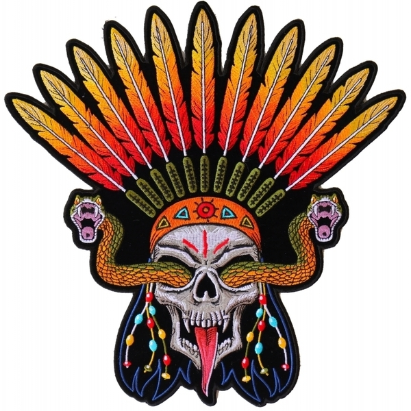 PL6648 Wicked Skull Snakes Feathers Large Back Patch | Patches