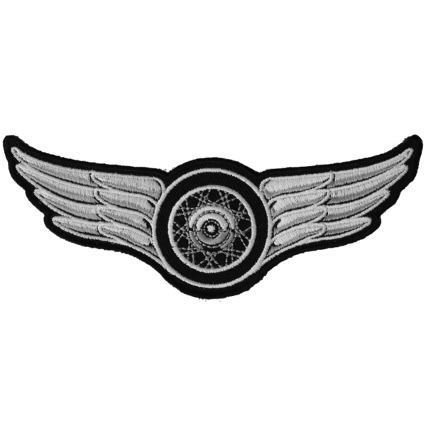 P3845 Winged Wheel Small Iron on Biker Patch   Patches