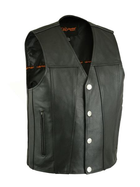 Men's Black Leather Gun Pocket Vest - Buffalo Nickel Snaps
