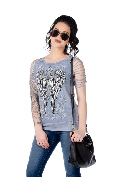 7746 Sliced Short Sleeve with Cross and Wings | Women's Shirts