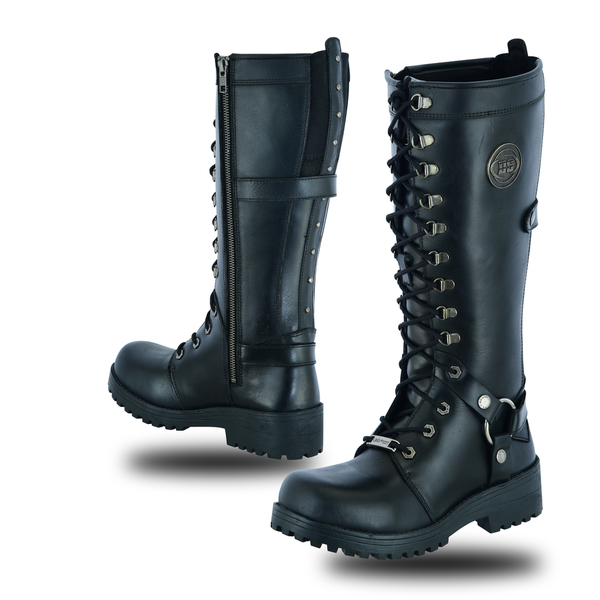 DS9765 Women's 15 Inch Black Leather Stylish Harness Boot | Women's Footwear