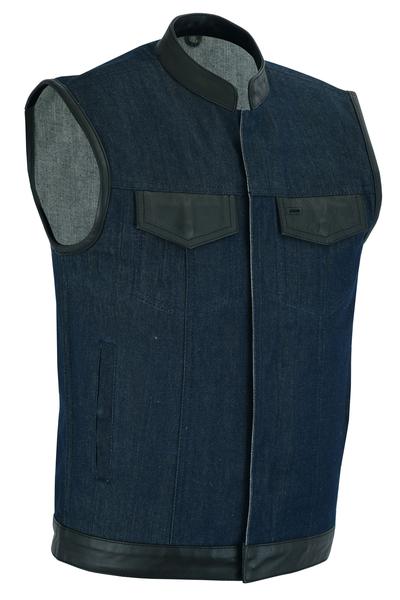 DM961 Men's Broken Blue RoughRub-Off Raw Finish Denim Vest W/Leather Trim- Scoop | Men's Denim Vests