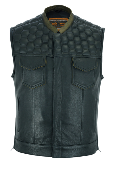 Wholesale Men's Leather Vests | DS189 Concealed Snap Closure, Premium Cowhide, Scoop Collar & Hidden Zipper | Daniel Smart Manufacturing