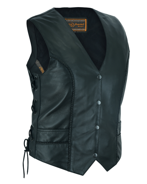 DS223 Women's Ultra-Thin  Braided Vest | Women's Leather Vests