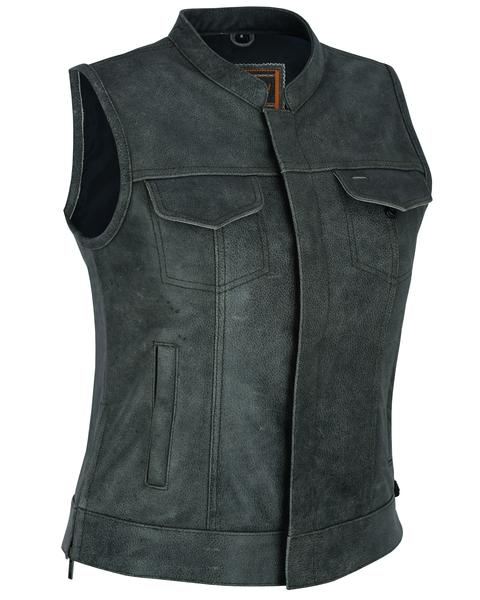 DS229  Women's Premium Single Back Panel Concealment Vest - GRAY | Women's Leather Vests