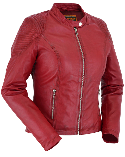 Women's Leather Riding Jacket |Cabernet Red | DS5501