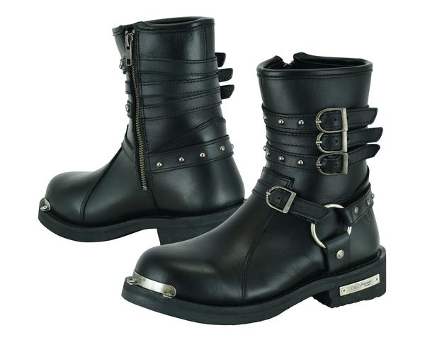 DS9767 Women's 9 Inch Black Triple Buckle Leather Harness Boot | Women's Footwear