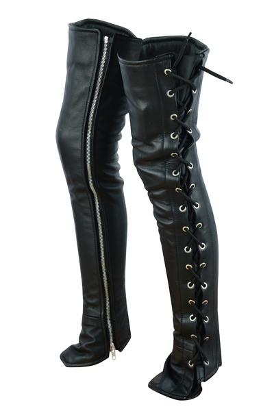 DS422 Women's Black Thigh High Leather Side Lace Leggings   Chaps & Pants
