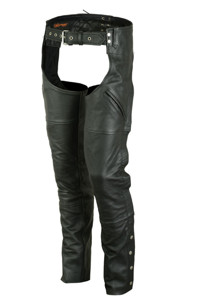 Wholesale Leather Motorcycle Chaps | DS404 Economy Unisex Deep Pocket Chaps