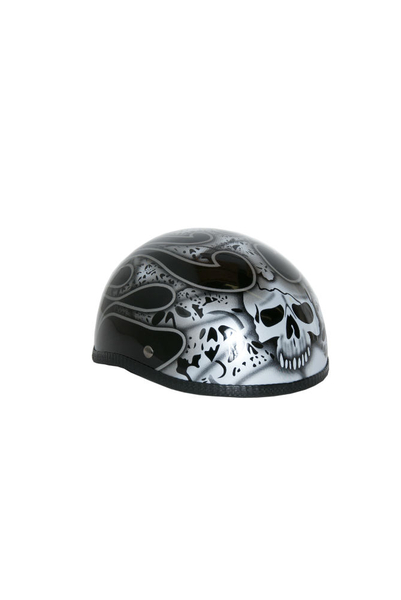 Wholesale Novelty Helmets | H13SV Novelty Eagle Silver Skull & Flames - Non- DOT