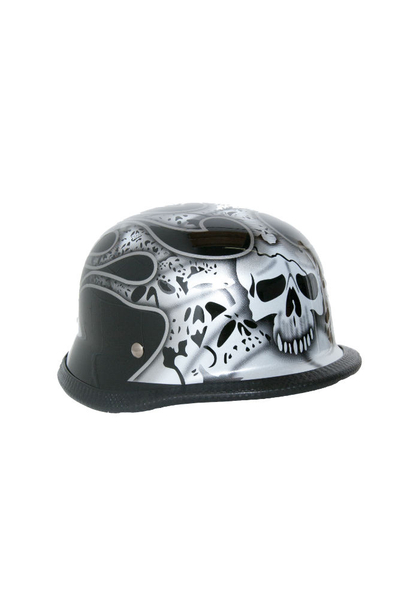 Wholesale Novelty Helmets | H10SV Novelty German Silver Skull & Flames - Non- DOT