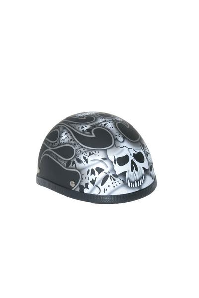 Wholesale Novelty Helmets | H12SV Novelty Eagle Silver Skull & Flames/Flat Black - Non- DOT