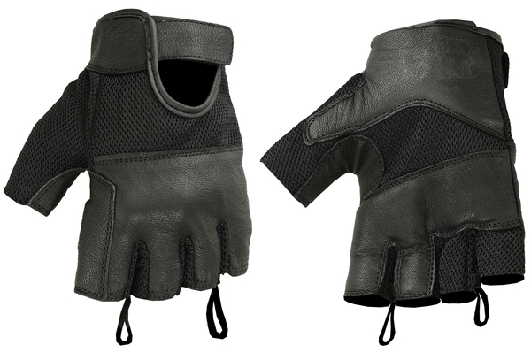 Wholesale Leather Gloves | DS17 Synthetic Leather/ Mesh Fingerless Glove