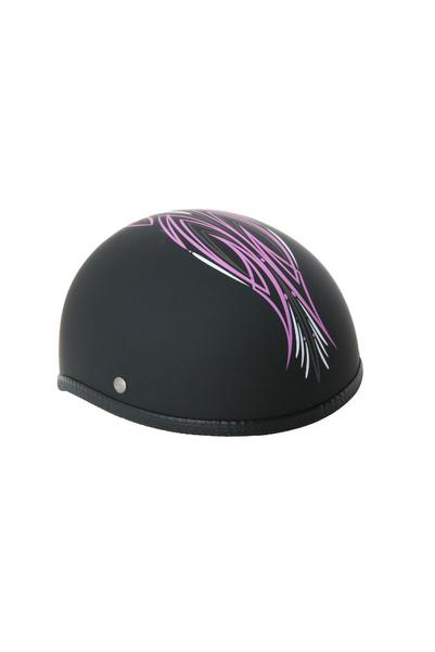 Wholesale Novelty Helmets | H40PK Novelty Skull Cap Pink Perewitz/Flat Black - Non DOT