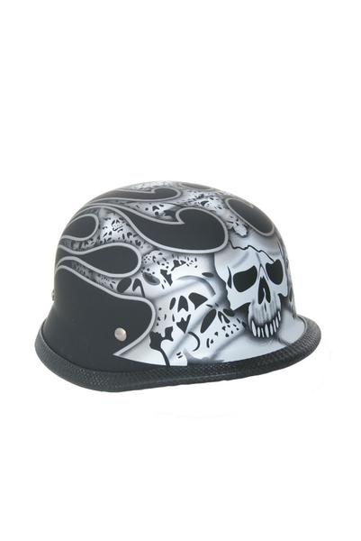 Wholesale Novelty Helmets | H11SV Novelty German Silver Skull & Flames/Flat Black - Non DOT