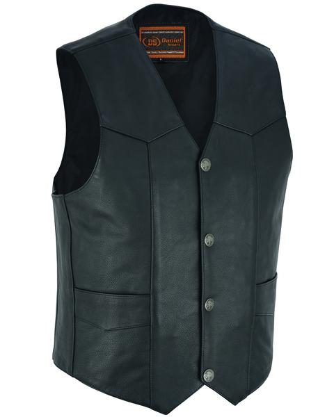Wholesale Men's Leather Vests | DS115 Traditional Single-Back-Panel Vest | Daniel Smart Manufacturing