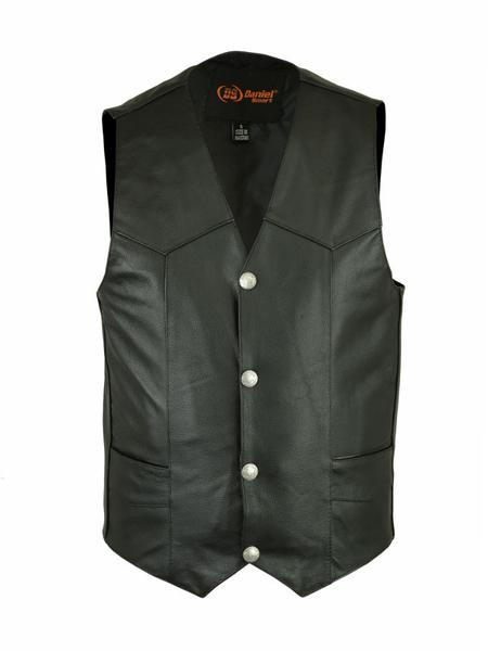 Wholesale Men's Leather Vests   DS115 Traditional Single-Back-Panel Vest   Daniel Smart Manufacturing