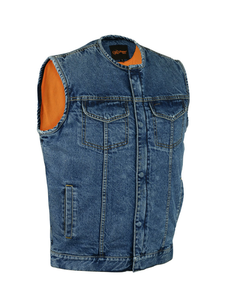 DM981BU Concealed Snaps, Denim Material, Hidden Zipper, w/o Collar | Men's Denim Vests