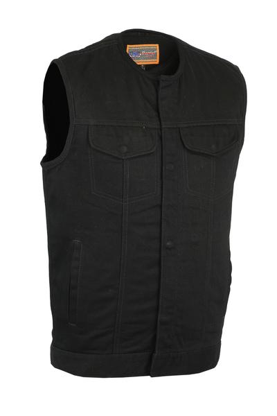 DM981BK Concealed Snaps, Denim Material, Hidden Zipper, w/o Collar | Men's Denim Vests