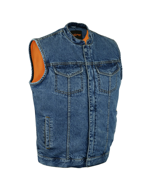 DM989BU Concealed Snap Closure, Denim Material, Scoop Collar & Hidden Zipper cop | Men's Denim Vests