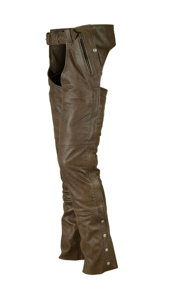 Wholesale Leather Motorcycle Chaps | DS478 Unisex Double Deep Pocket Insulated Chaps