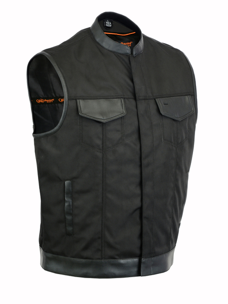 DS689 Concealed Snap Closure, Textile Material, Scoop Collar & Hidden Zipper | Men's Textile Vests
