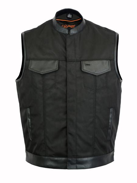 DS689 Concealed Snap Closure, Textile Material, Scoop Collar & Hidden Zipper   Men's Textile Vests